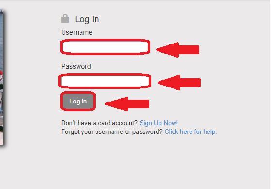 Global cash card login menu