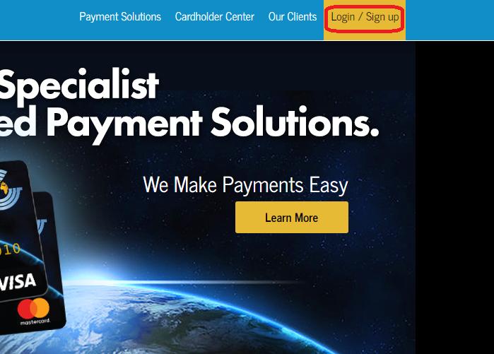 Global cash card account login button