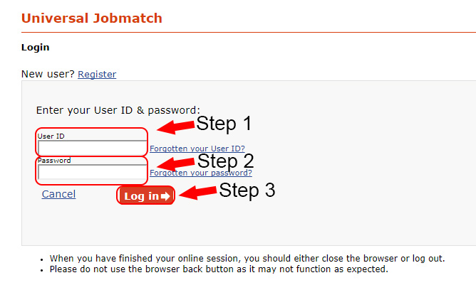 universal jobmatch login